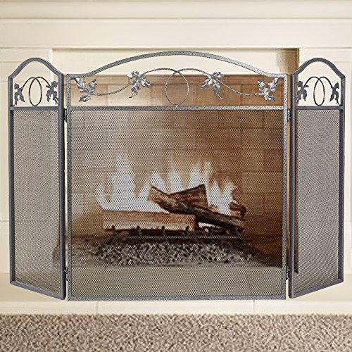 Amagabeli 3 Panel Pewter Wrought Iron Fireplace Screen Outdoor Metal Decorative Mesh Cover Solid Baby Safe Proof Fire Place Fence Leaf Design Steel Spark Guard for Fireplace Panels (Flat Fireplace Guard)
