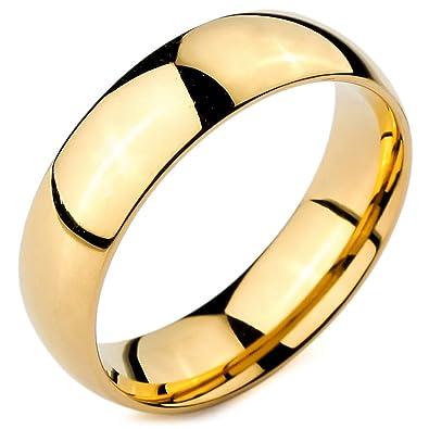 MunkiMix Ancho 6mm Acero Inoxidable Anillo Ring Banda Venda Oro Dorado Alianzas Boda Hombre,Mujer: Amazon.es: Joyería