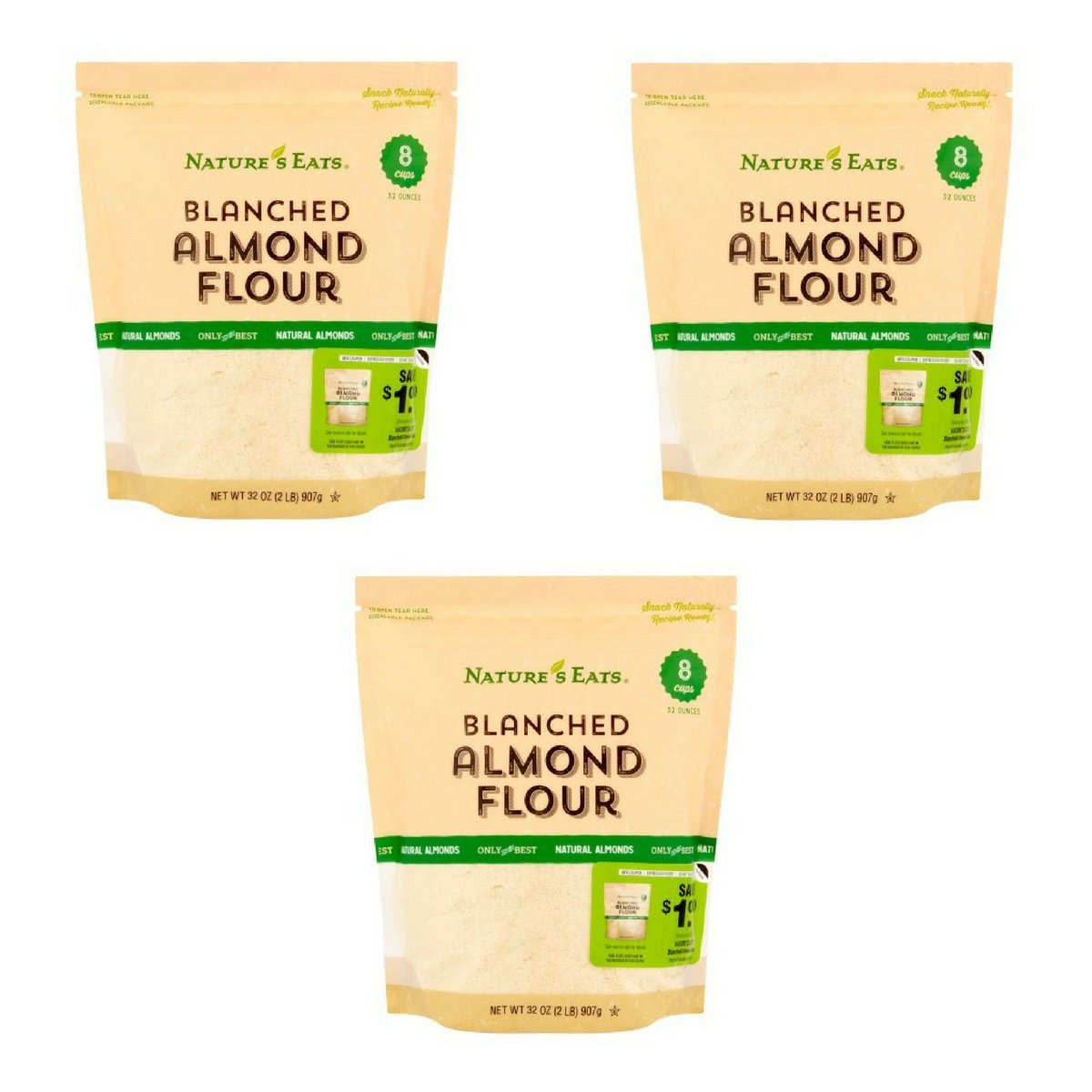 Nature's Eats Blanched Almond Flour, 32 Ounce (Pack of 3)
