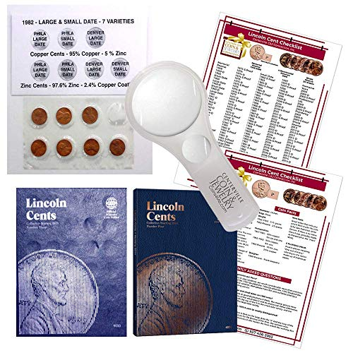 Lincoln Penny Starter Collection Kit, with 1982 Varieties, Whitman [9033] Lincoln Cent Folder Vol. 3, [4004] Folder Vol. 4, Magnifier & Checklist, (5 Items) Great Start for Beginner Collectors