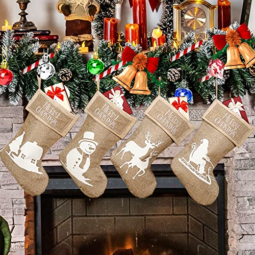 Christmas Stockings, 4 Pack Xmas Stockings with Santa, Snowman, Reindeer and Tree, Large Size Xmas Fireplace Hanging Stockings Gift Bag for Family Holiday Christmas Decorations