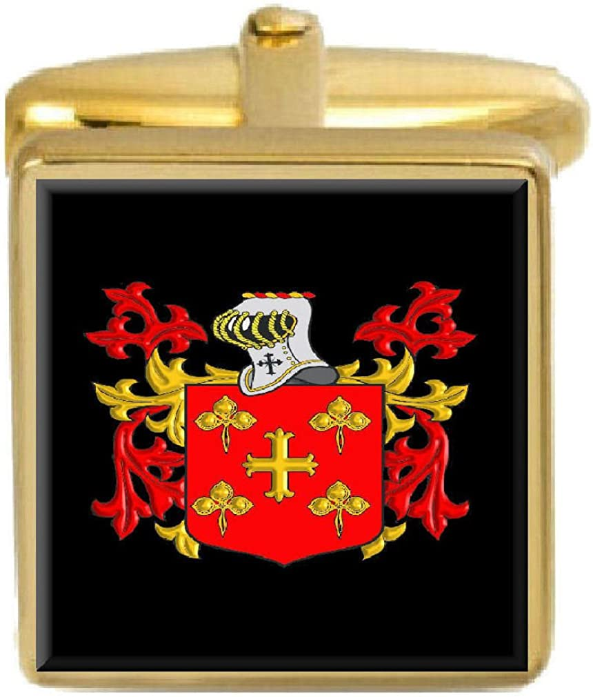 Select Gifts Manning Ireland Family Crest Surname Coat Of Arms Gold Cufflinks Engraved Box