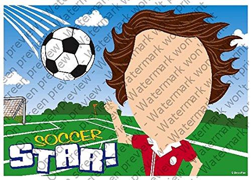 1/2 Sheet - Soccer Player - Cake Photo Frame - Edible Cake/Cupcake Topper!!! by Art of Eric Gunty