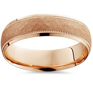 mens hammered wedding band 14k rose gold 6mm