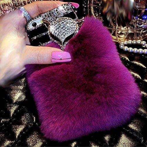 Aikeduo Iphone5s Case Handmade Bling Crystal Rabbit Fur Rhinestone Case Cover iPhone 5s Warm Case (Fox Purple)