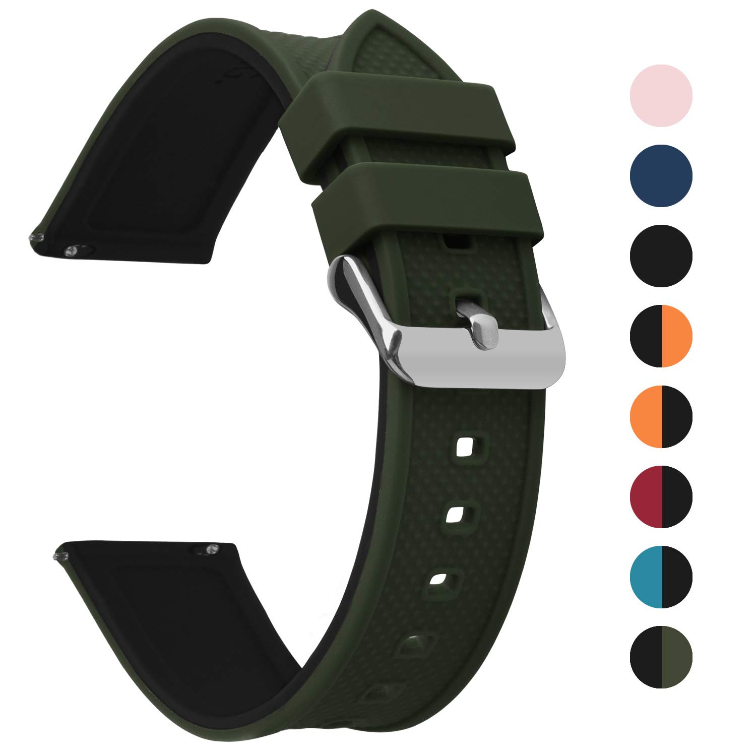 Fullmosa Silicone Rubber 18mm 20mm 22mm 24mm Watch Band 8 Colors for Rainbow Quick Release Watch Strap with Stainless Steel Buckle