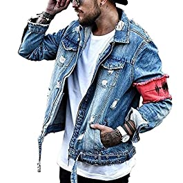 Men's Denim Jacket Ripped Distressed Jeans Jacket