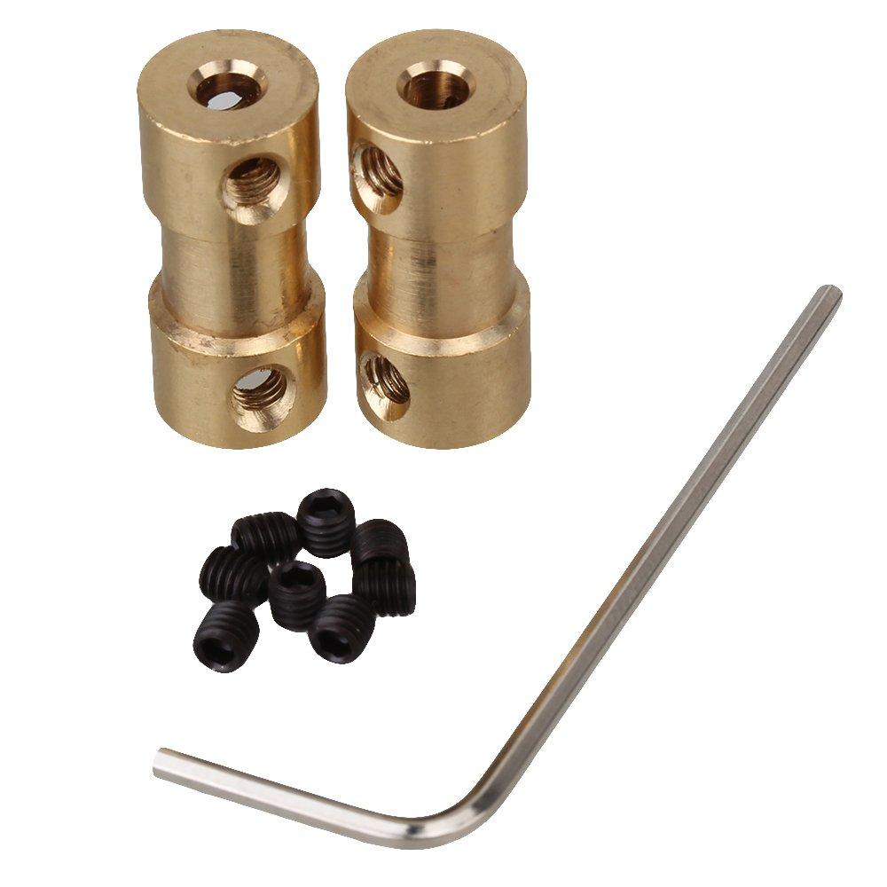 BQLZR Golden 3.17mm-4mm Brass Shaft Coupling Coupler Motor Transmission Motor Connector Pack of 2 BQLZRN07117