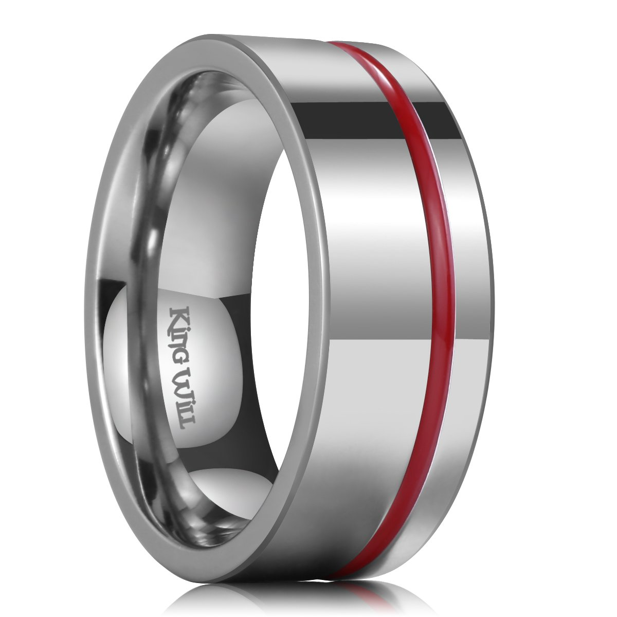 King Will Loop 8mm Thin Red Groove Silver Titanium Wedding Ring Band Pipe Cut Comfort Fit OY-TRM019