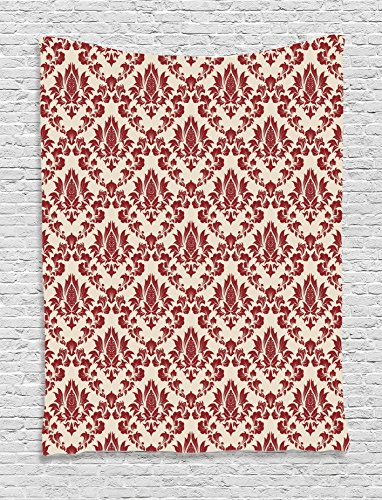 Ambesonne Damask Decor Collection, Damask Illustration With Abstract Flower Blooming Pattern Artistic Stylish Antiquity, Bedroom Living Room Dorm Wall Hanging Tapestry, Burgundy - Tapestry Damask Abstract