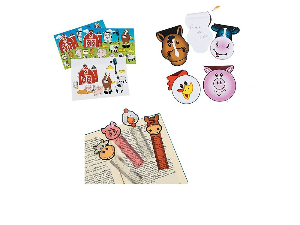 36 FARM ANIMAL - PARTY FAVORS -12 Notepads -12 BOOKMARKS - 12 MAKE a FARM Sticker Sheets PIG COW Horse CHICKEN BARN Classroom Give-aways - TEACHER Incentives Barnyard