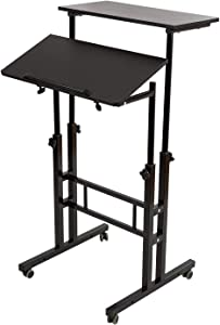 BarleyHome Mobile Stand Up Desk, Adjustable Laptop Desk with Wheels Home Office Workstation, Rolling Table Laptop Cart for Standing or Sitting, Black