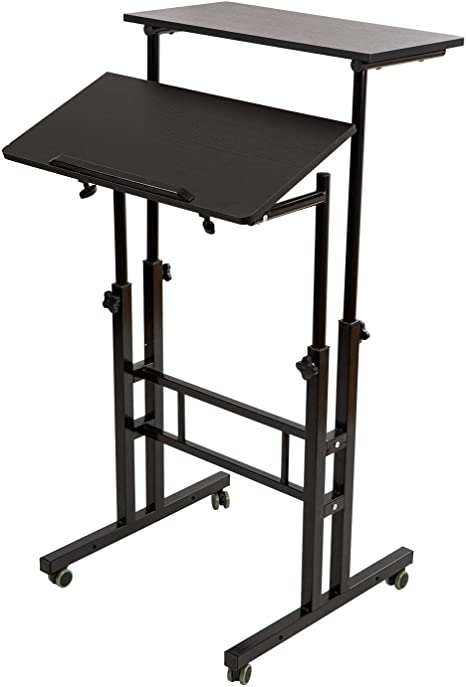 Black Mobile Sit or Stand Alternately Notebook Computer Table Folding Desk Worktable Stand ZWW electronic Creative Height-adjustable Standing Office Desk Multifunctional Notebook Monitor Bracket