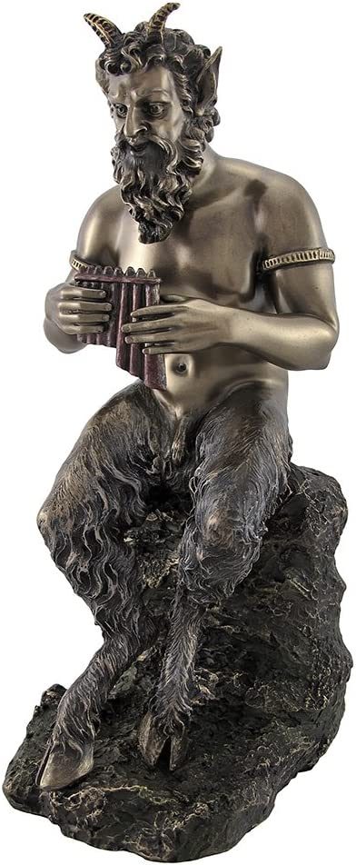 Veronese Bronzed Finish Pan Playing Flute Statue Greek Mythology Faun