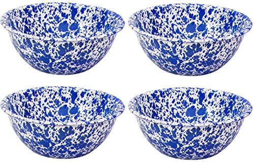 Crow Canyon Enamelware Round Salad/Serving Bowl, Classic Tableware - Set of 4 - Blue Marble Pattern, 8.5 Inches