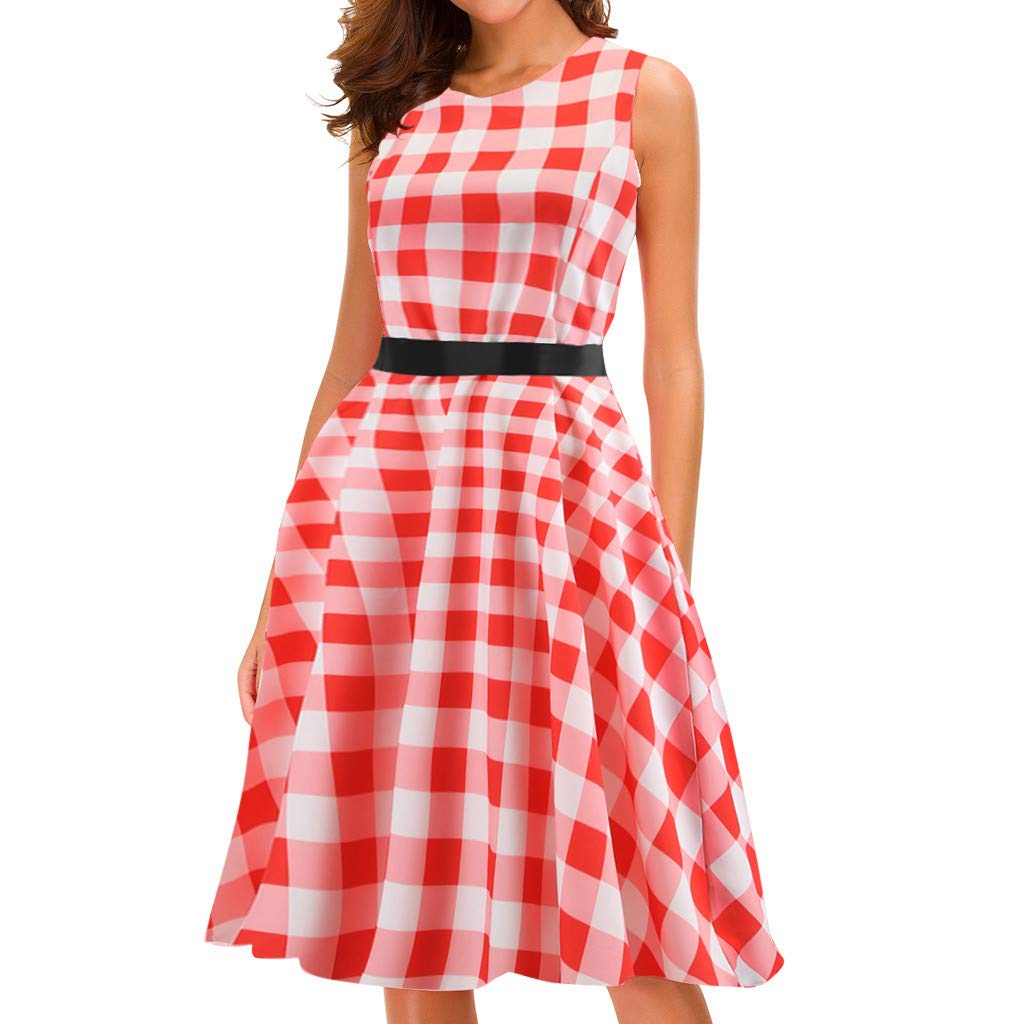 Big Sale,YetouWomen Vintage Dresses Women Plaid Sleeveless Casual Evening Party Prom Swing Dress Red