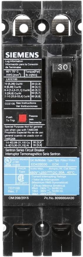 Siemens ED42B030 Type ED4 Breaker 2 Pole 30 Amp 480V Load Side Lug