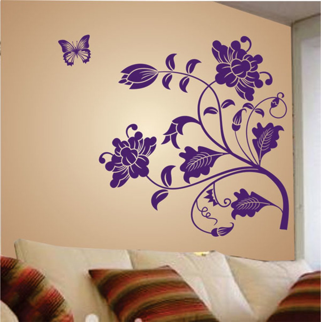 buy decals design vine flower wall sticker pvc vinyl 50 cm x buy decals design vine flower wall sticker pvc vinyl 50 cm x 70 cm purple online at low prices in india amazon in