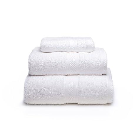 Sancarlos - Juego de 3 toallas YANAI, 100% Algodón, Color Blanco