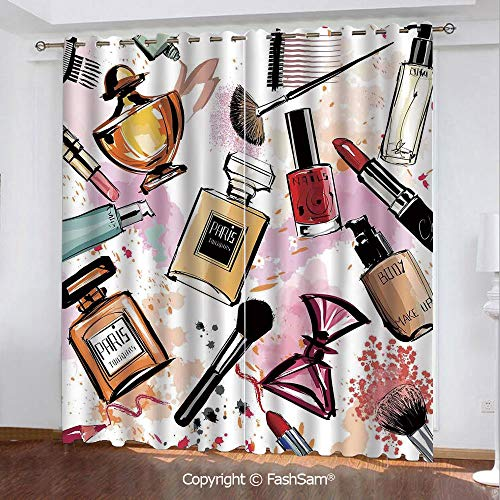 FashSam Blackout Curtains Set Room Darkening Drapes Cosmetic and Makeup Theme Pattern with Perfume Lipstick Nail Polish Brush Modern Lady Window Treatment Pair for Bedroom(84
