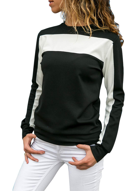 FIYOTE Women Casual Long Sleeve Crewneck Sweatshirt Color Block Pullover Top Large Size Black