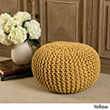 Poona Hand Knitted Artisan Round Pouf (Yellow)