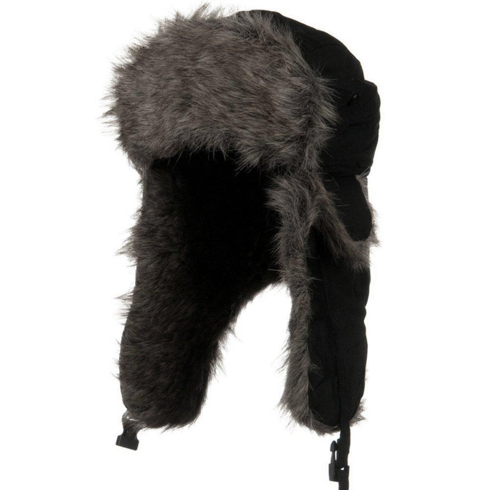 ZAN Headgear Black Trapper Aviator Winter Hat w Faux Fur Accents