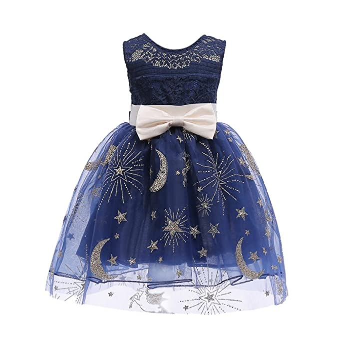 d42b262fd718e JPOQW Kid Girls Dress Toddler Girl Moon Stars Bow Princess Pageant Gown  Birthday Party Wedding Dress