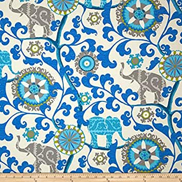 Waverly Sun N Shade Menagerie Sapphire Fabric By The Yard