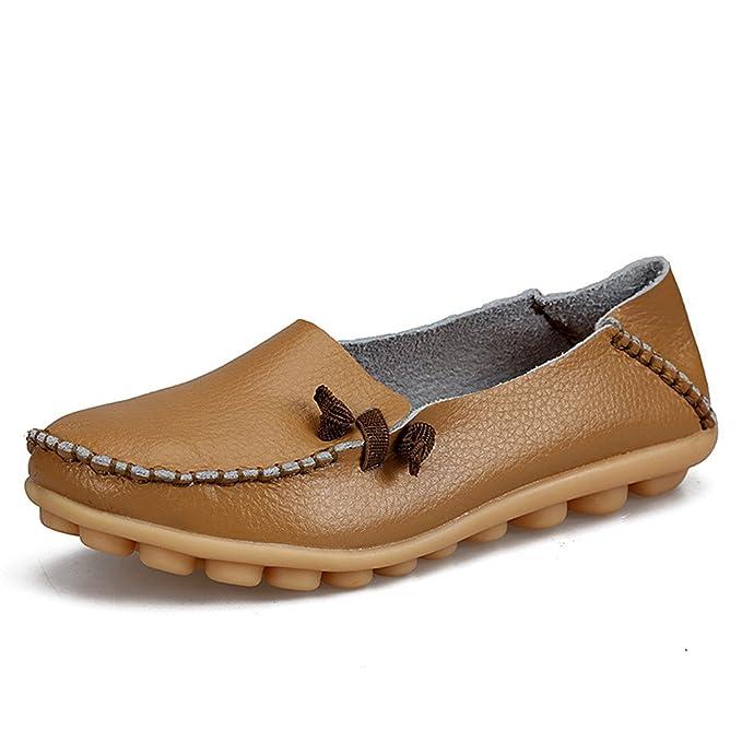 Bridfa Zapatos de mujer de cuero genuino Mujer Pisos ocasionales Mocasines de la madre Calzado de conducción de mujeres Zapato de barco sólido Khaki 6: ...