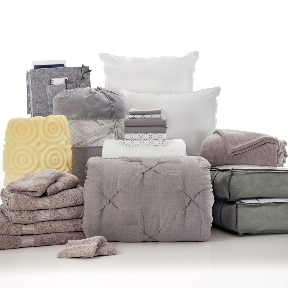 OCM 24 Piece Complete Campus Pak Scout Gray and Xavier Twin XL College Dorm Bedding and Bath Set