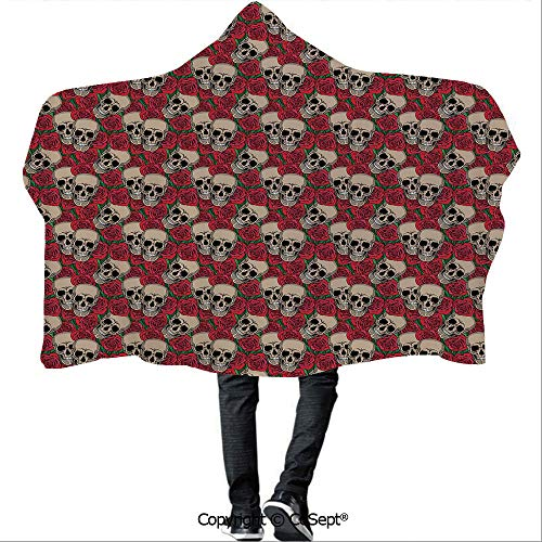 SCOCICI Polyester Hooded Blankets,Graphic Skulls and Red Rose Blossoms Halloween Inspired Retro Gothic Pattern,Camping Indoor Outdoor Travel(59.05x78.74 inch),Vermilion Tan -