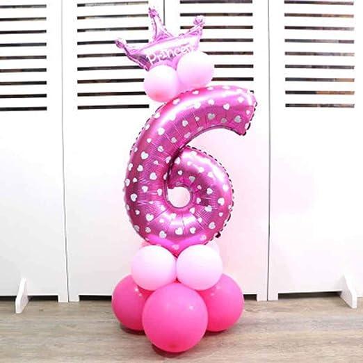 oobest Números 0-9 Hoja hincha la Fiesta de cumpleaños de la Corona Globos en Forma de dígitos