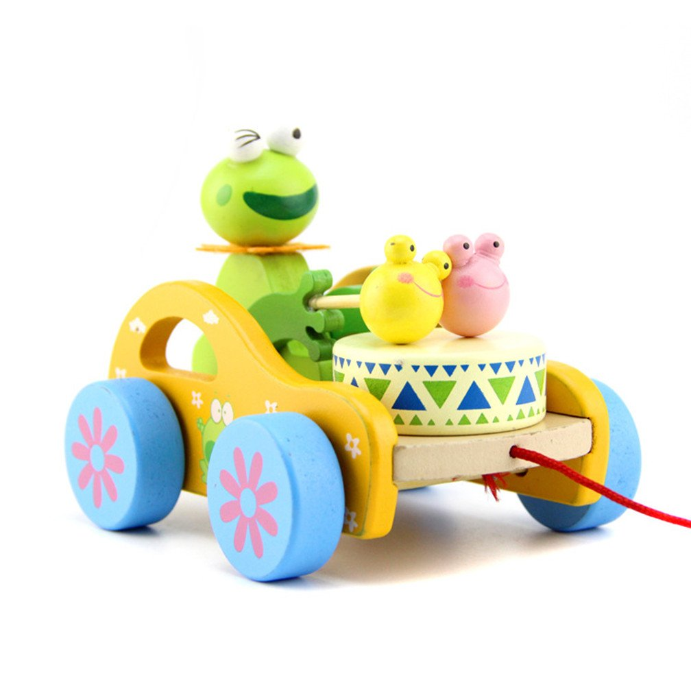 Hellofuture Kids Toys Wooden Pull Along Toy Frog Beat Drum Good Creative Educational Solid Wood Pull Toys for Toddlers Baby Girls Boys with Long Sturdy String Attached to Cute Frog Wooden Frog