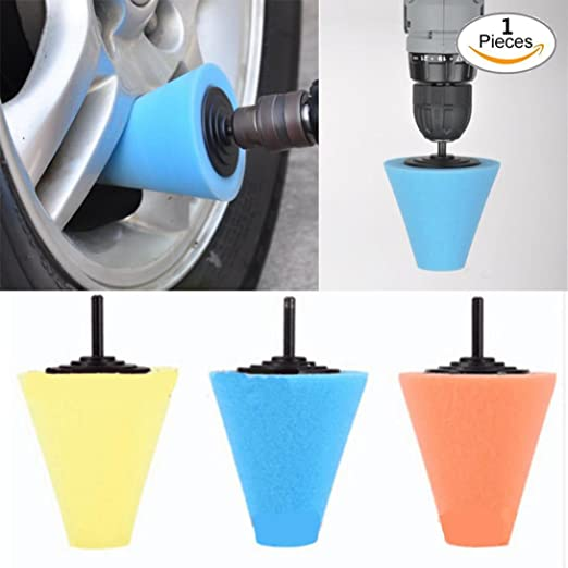 1x Blue Cone Shaped Polishing Sponge Tool For Automobile Wheel Hub