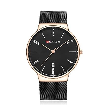 Amazon.com: CURREN 8257 (Gold Black) Mens Unisex-adult Waterproof Stainless Steel Date Good Quality Watch: Watches