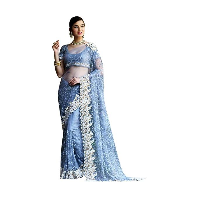 Amazon.com: Azul indio Bollywood Diseñador Heavy trabajo Net ...