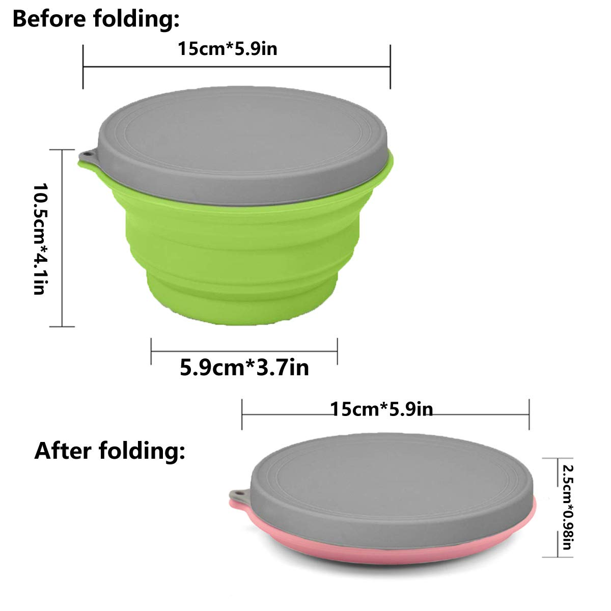 Portable Travel Bowl Green Suitable for Picnic cjixnji Silicone Collapsible Bowl Safe and Sanitary Food-Grade Camping Bowl with Lids Expandable Portable Bowl Outdoor Camping and Hiking