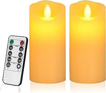 7,5 * 10//12,5//15CM 3 Batterie nicht erhaltet Batterie Stromversorgung CPROSP 3er LED Kerzen mit Fernbedienung//Timerfunktion//Flackernde Flamme in Gold Glas Hochzeit Party f/ür Weihnachten