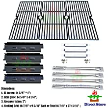 Direct store Parts Kit DG161 Replacement Charbroil 463440109 Gas Grill Repair Kit (SS Burner + SS carry-over tubes + Porcelain Steel Heat Plate + Porcelain Cast Iron Cooking Grid)