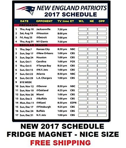 England Patriots Football Schedule Refrigerator