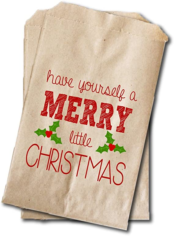 Amazon Com Have A Merry Christmas Treat Bags Christmas Party Rustic Favor Bags 20 Pack Toys Games