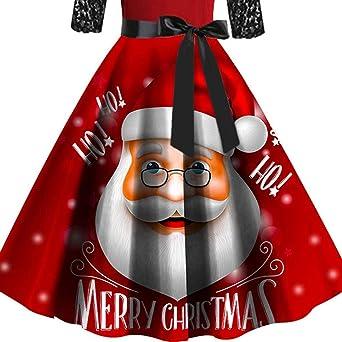WUSIKY Weihnachtskleider für Damska Geschenk für Frauen Weihnachten Halbarm Lace Patchwork Print Vintage Abend Partykleid: Odzież