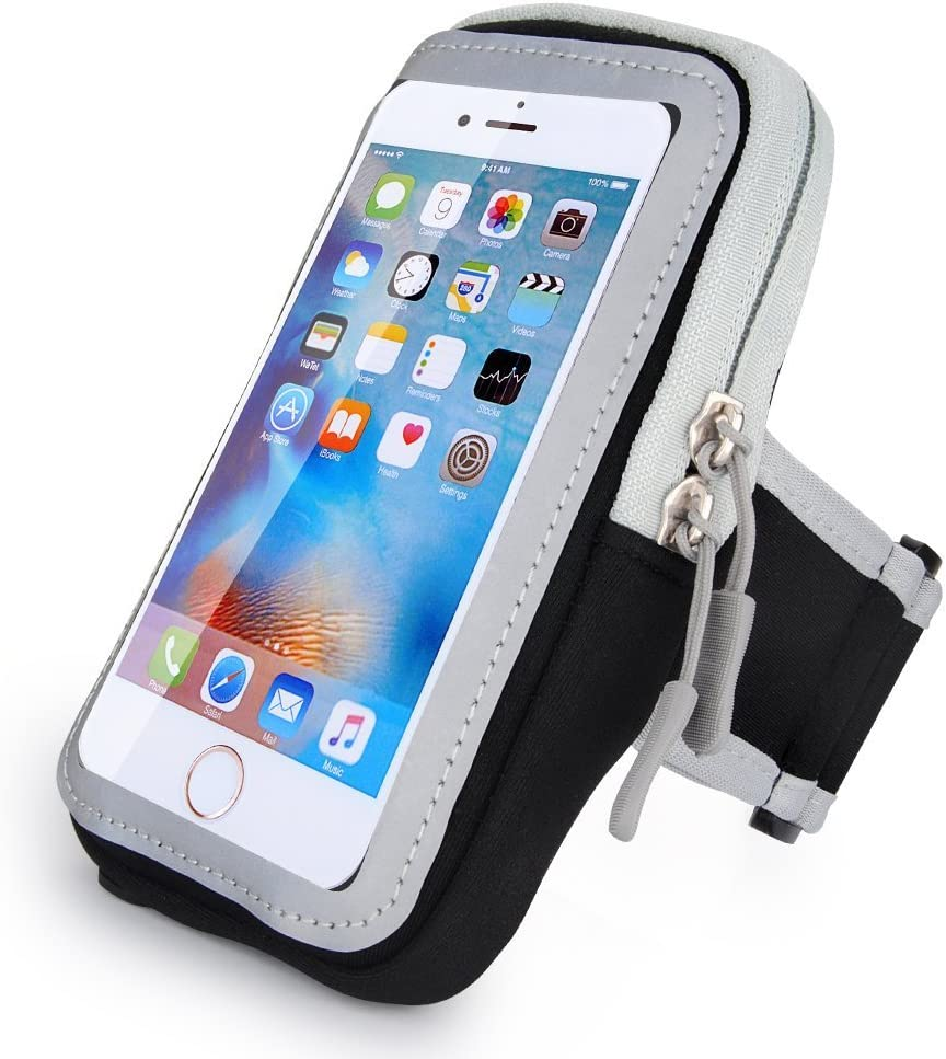 Neoprene and Nylon Sports Armband Sweatproof Workout Running Gym Fitness Cell Phone Case for Samsung Galaxy S10 Plus/S9 Plus/Note 9/Note 8/iPhone Xs Max/8 Plus/7 Plus/Motorola Moto G7/LG G7(Black)