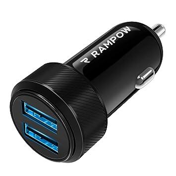 Amazon.com: Cargador USB para coche, 2 puertos, 24 W/4,8 A ...