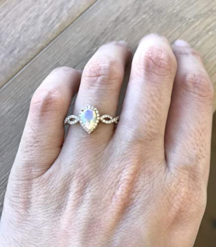 3a0c353e10a98 Amazon.com: Pear Shape Engagement Ring- Opal Promise Ring- 18k White ...