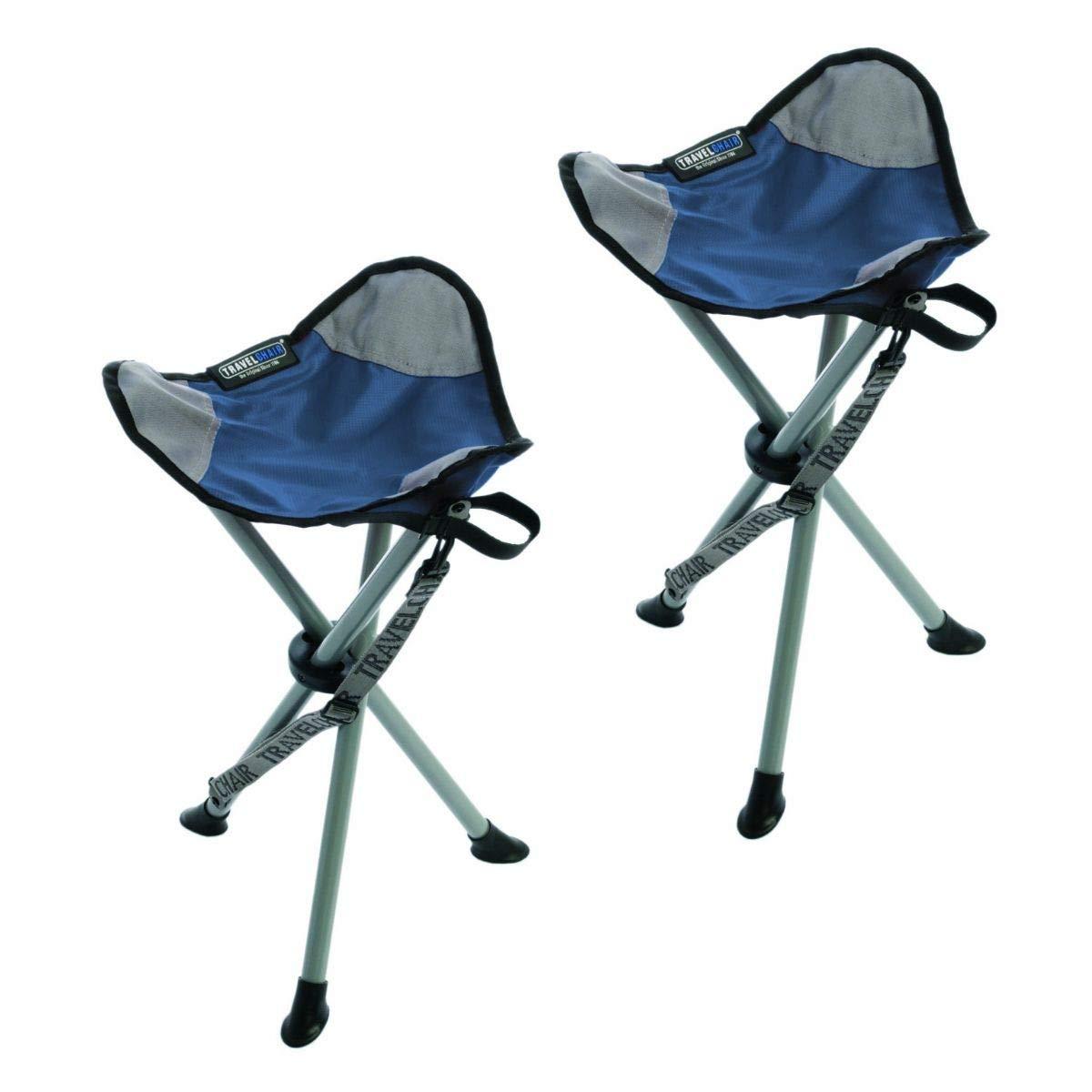 TravelChair Slacker Chair, Super Compact, Folding Tripod Camping Stool (Blue/Set of 2)