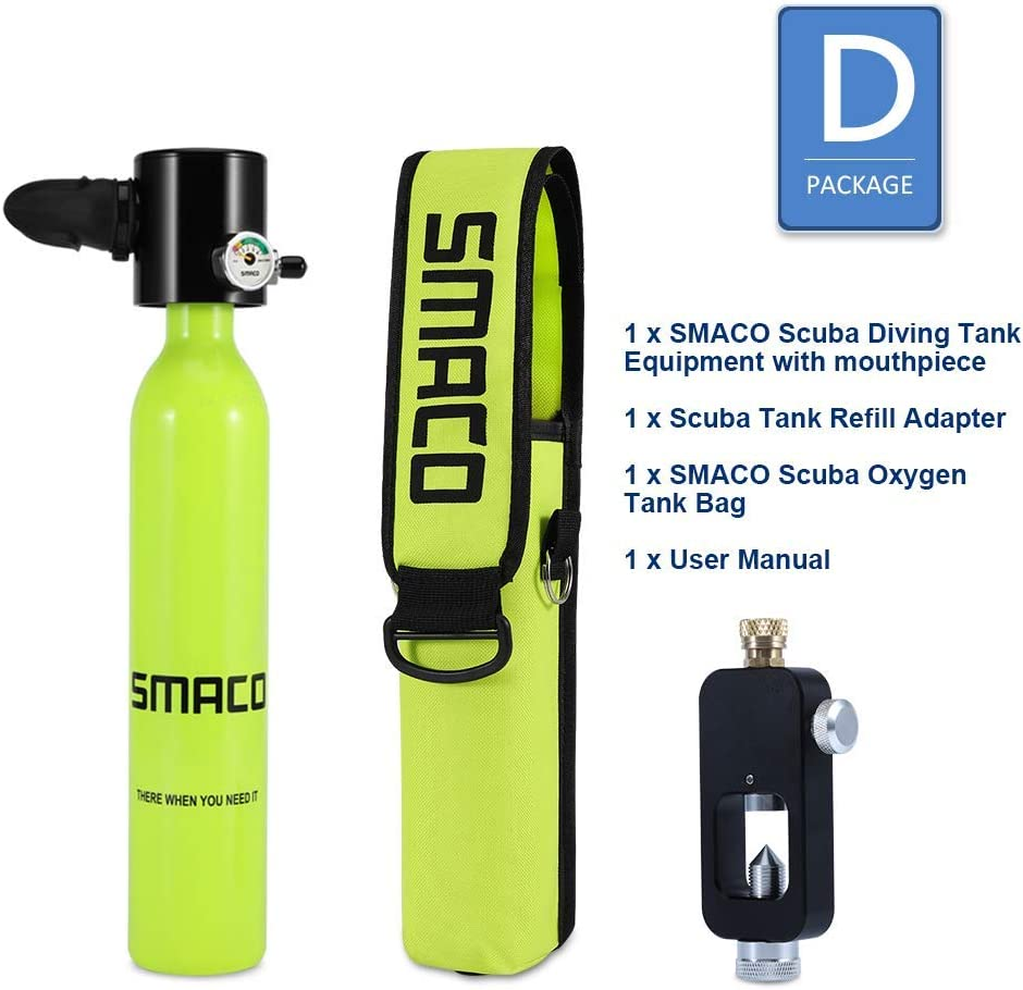 Mini Scuba Dive Cylinder with 10 minutes capability roadwi Smaco Scuba Diving Tank Equipment Pressure /& Corrosion Resistant Material