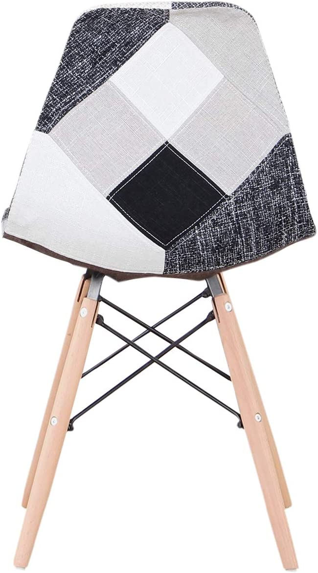 A set with 4 dining chairs made of modern patchwork in Nordic style upholstered with patchwork fabric and wooden frame chair in Scandinavian style (Red) Grey