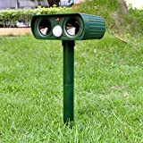 Mole Repellent Ultrasonic Outdoor Solar Power Animal Repeller Cats, Dogs, Mice, Snakes, Foxes, Moles, Birds and Other Animals (Green)